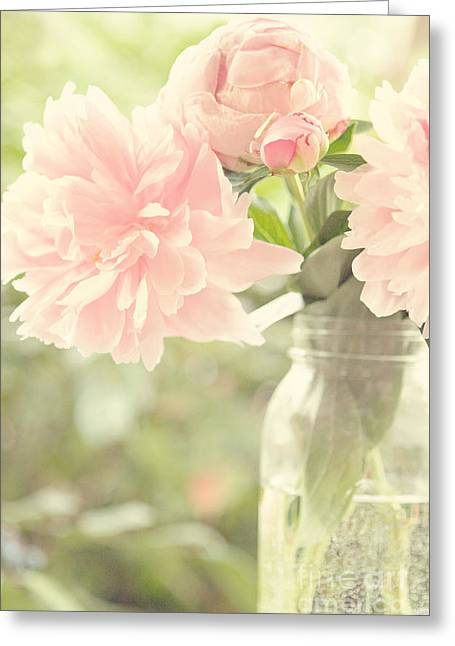 Mason Jars Greeting Cards - Peonies in a Mason Jar Greeting Card by Kim Fearheiley