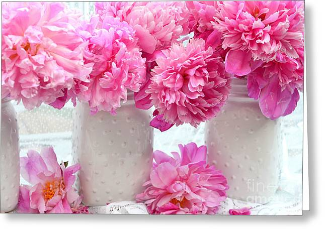 Mason Jar Greeting Cards - Peonies In White Mason Jars - Romantic Bright Pink Peonies  Greeting Card by Kathy Fornal