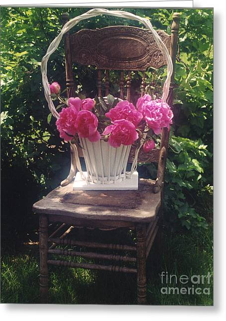 Garden Chairs Greeting Cards - Peonies in White Vintage Basket - Shabby Cottage Chic Garden Vintage Chair Basket of Peonies Greeting Card by Kathy Fornal