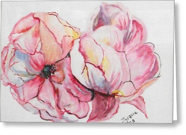 Salmon Paintings Greeting Cards - Peonies x9 Greeting Card by Jacquie King