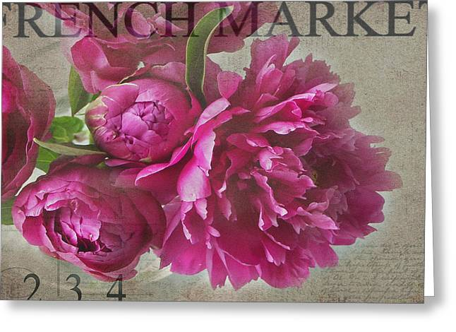 Pink Flower Greeting Cards - Peonies Greeting Card by Rebecca Cozart