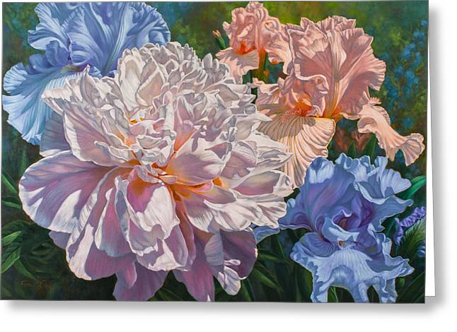 Peony And Irises Greeting Card by Fiona Craig