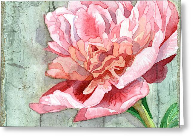 Flourished Greeting Cards - Peony at the Fence 2 Greeting Card by Audrey Jeanne Roberts