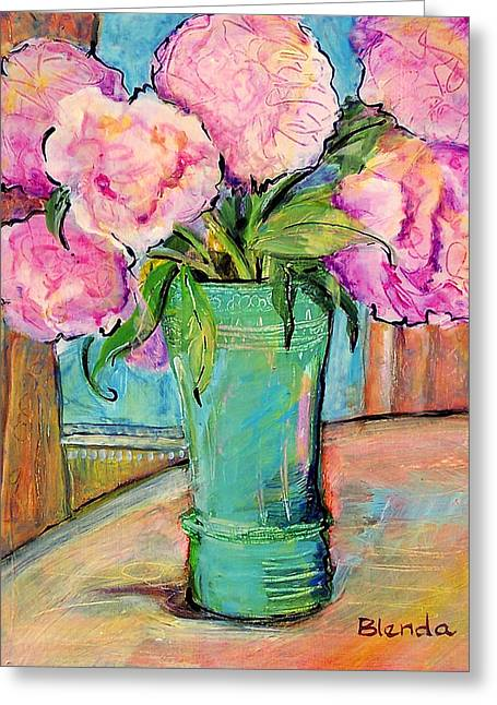 Floral Bouquet Greeting Cards - Peony Bouquet in a Window Greeting Card by Blenda Studio