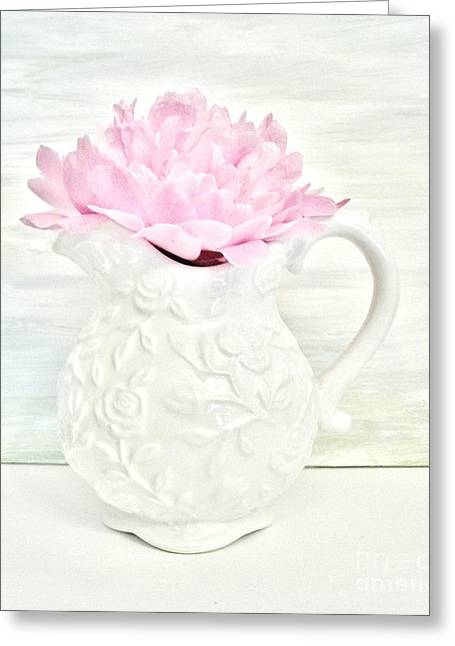 Embossed. Greeting Cards - Peony in a Pitcher Greeting Card by Marsha Heiken