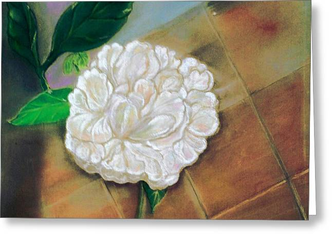 White Tapestries - Textiles Greeting Cards - Peony on slate 1 Greeting Card by Carole Joyce