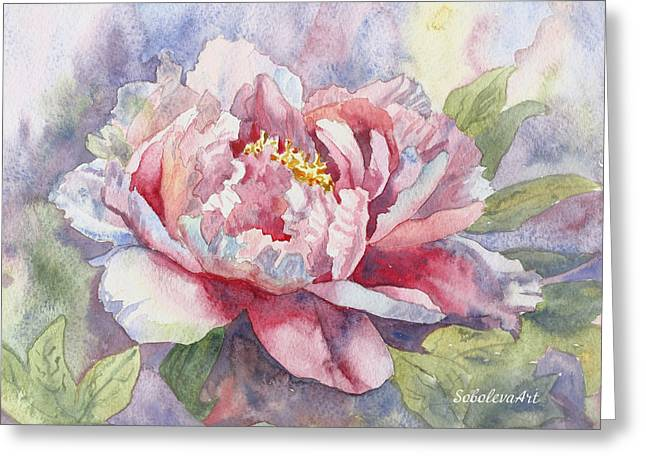 Botanicals Tapestries - Textiles Greeting Cards - Peony Painting Peony Print Art Peony Watercolor Prints Canvas Fine Art Watercolor Canvas Pink Peony  Greeting Card by Karina Soboleva