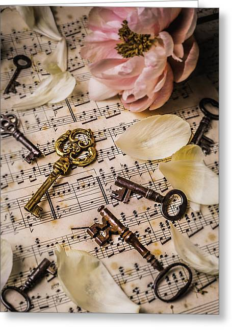 Unlock Greeting Cards - Peony With old Keys Greeting Card by Garry Gay