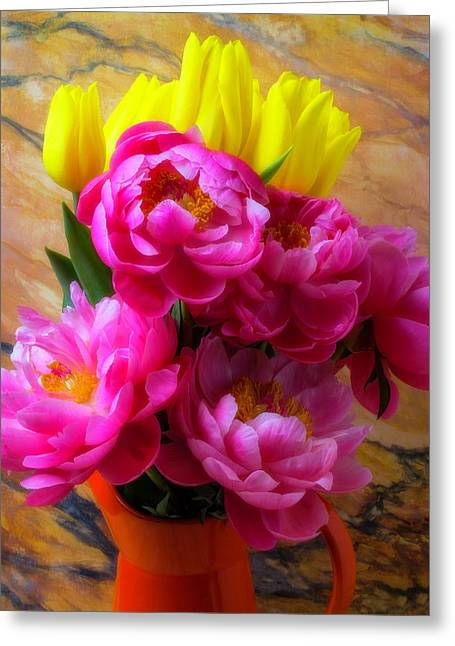 Peony's And Tulips In Pitcher Greeting Card by Garry Gay