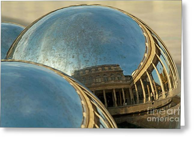 Royal Art Greeting Cards - People and buildings reflected on the sphere sculpture within the gardens of the Palais-Royal Greeting Card by Sami Sarkis