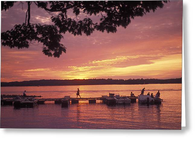 Gathering Greeting Cards - People At The Marina At Sunset Greeting Card by Richard Nowitz