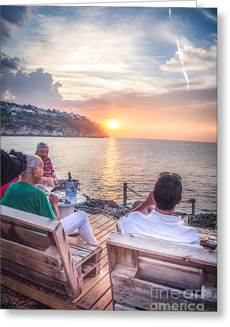 People Drink Canvas An Aperitif Enjoying The Sunset Greeting Card by Luca Lorenzelli