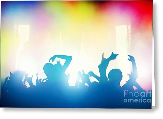 Applauding Greeting Cards - People having fun in night club Greeting Card by Michal Bednarek