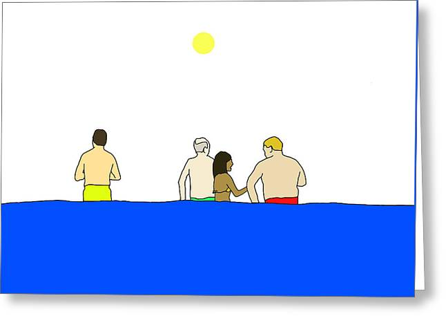 Poolside Greeting Cards - People in Pool Greeting Card by Olivia Domingos