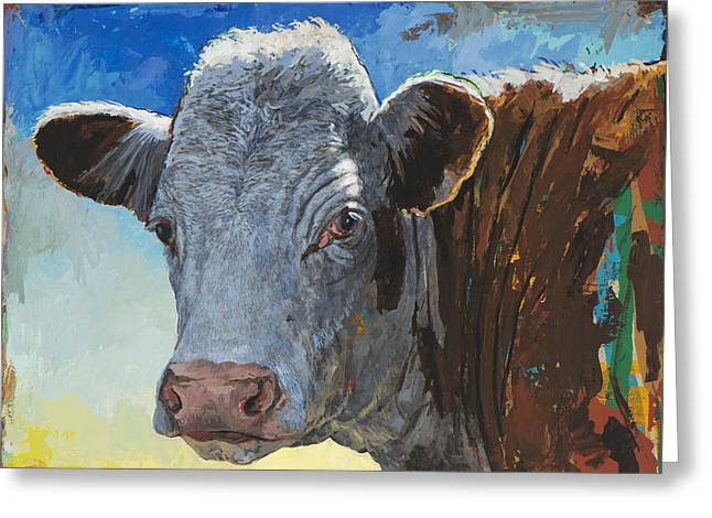 Cow Art Greeting Cards - People Like Cows #17 Greeting Card by David Palmer