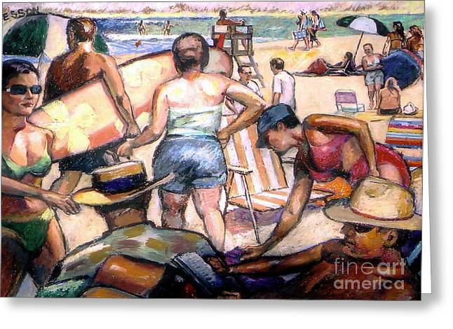 Award Winning Pastels Greeting Cards - People On The Beach Greeting Card by Stan Esson