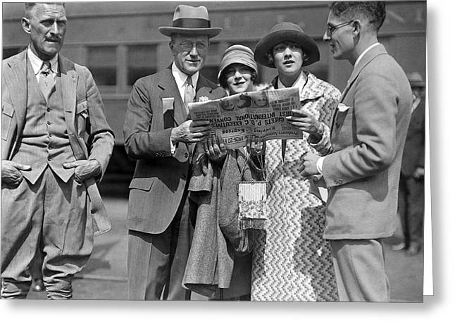 People Reading A Newspaper Greeting Card by Underwood Archives