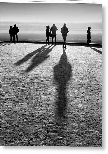 People Standing Looking In Winter With Their Shadows Greeting Card by John Williams