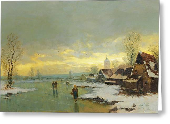 People Walking On A Frozen River  Greeting Card by Johann II Jungblut