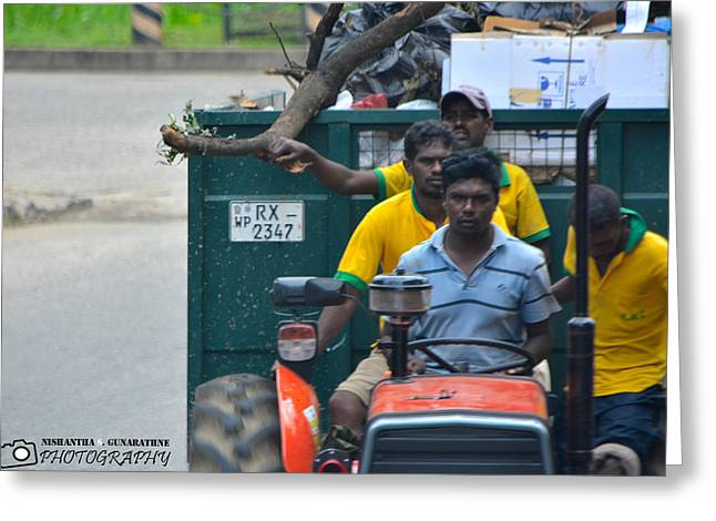 Valuable Greeting Cards - People-workers Greeting Card by Nishantha S Gunarathne