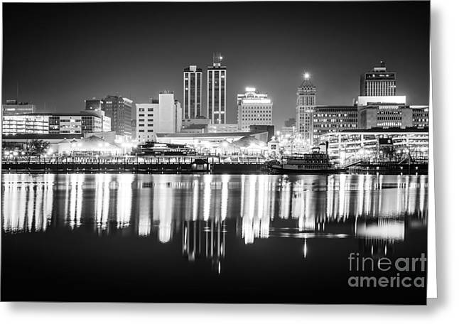 Peoria Illinois At Night Black And White Photo Greeting Card by Paul Velgos