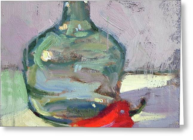 Pepper And Bottle Greeting Card by Donna Shortt