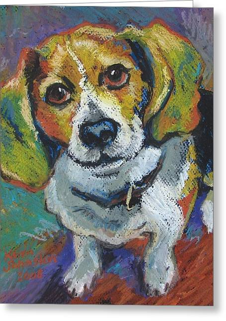 Puppies Paintings Greeting Cards - Pepper Greeting Card by Karen Mayer Johnston