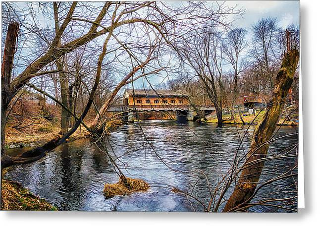 Pepperell Covered Bridge Greeting Card by Larry Richardson