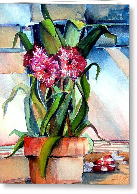 Potted Plants Drawings Greeting Cards - Peppermint Carnations Greeting Card by Mindy Newman