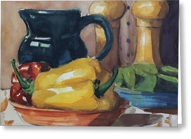 Peppers And Jug Greeting Card by John Holdway