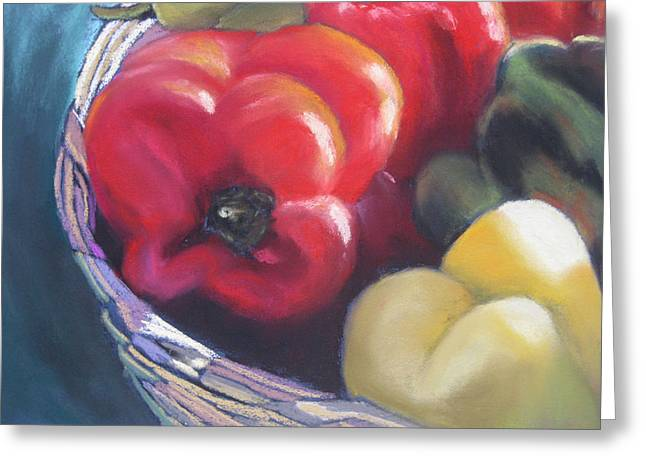 Italian Kitchen Pastels Greeting Cards - Peppers in Basket Greeting Card by Constance Gehring