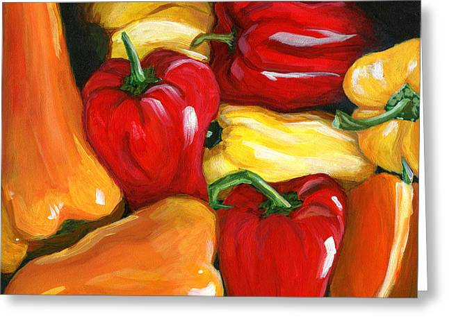 Home Grown Greeting Cards - Peppers Greeting Card by Karyn Robinson