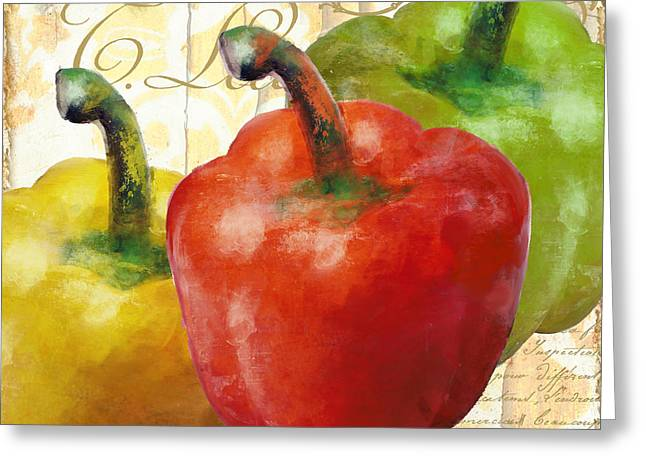 Pepper Paintings Greeting Cards - Peppers Greeting Card by Mindy Sommers
