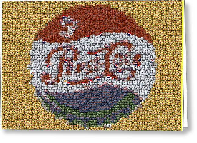 Bottle Cap Greeting Cards - Pepsi Bottle Cap Mosaic Greeting Card by Paul Van Scott