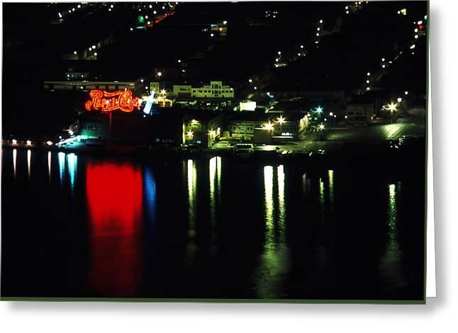 City Lights Greeting Cards - Pepsi by the River Greeting Card by Paul Lamonica