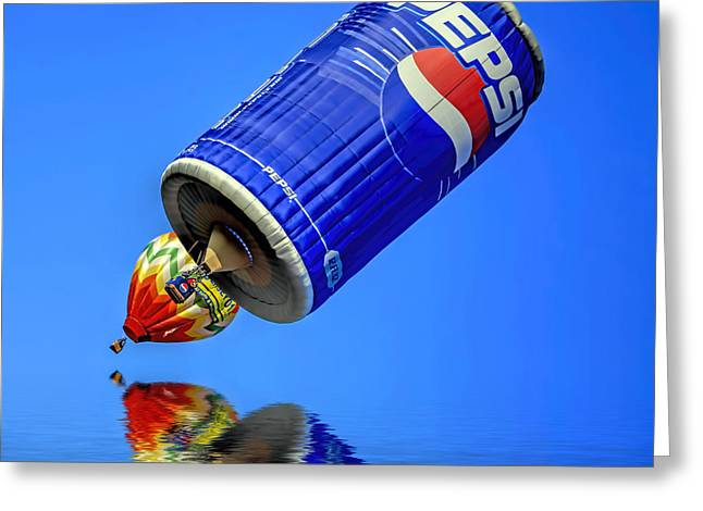 Helium Greeting Cards - Pepsi Can Hot Air Balloon at Solberg Airport Reddinton  New Jersey Greeting Card by Geraldine Scull
