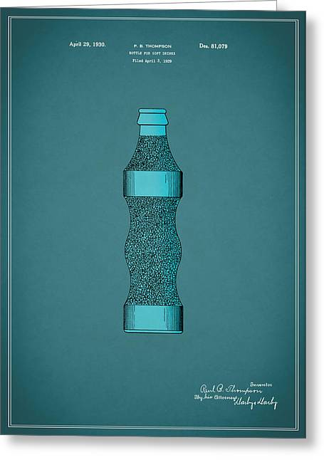 Soft Drink Greeting Cards - Pepsi Cola Bottle Patent 1930 Greeting Card by Mark Rogan