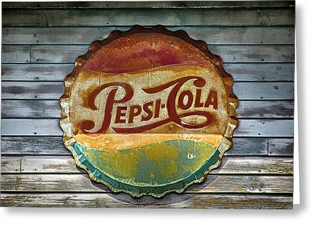 Pepsi-cola Sign Vintage Greeting Card by Betty Denise