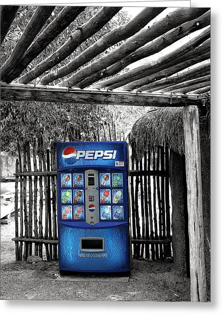 Vending Machine Photographs Greeting Cards - PEPSI GENERATION Palm Springs Greeting Card by William Dey