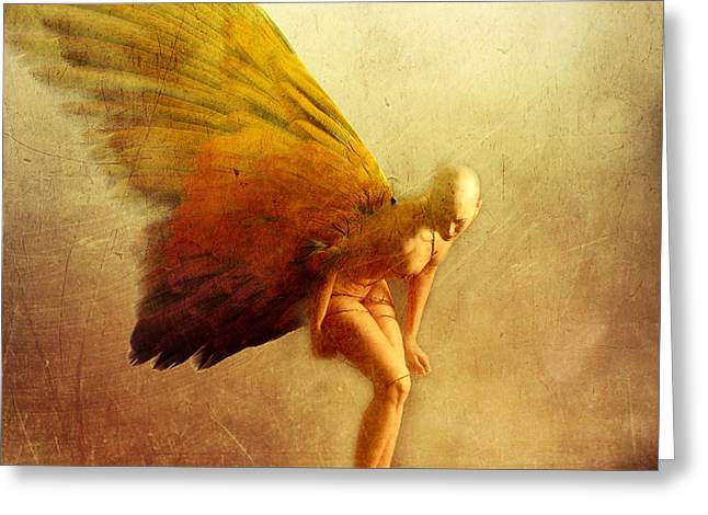 Angel Mixed Media Greeting Cards - Perception Greeting Card by Photodream Art