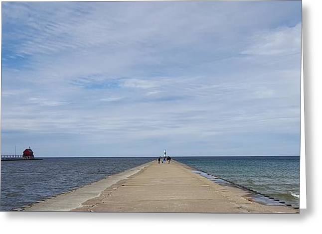 American Bridge Company Greeting Cards - GH Breakwater Greeting Card by 2141 Photography