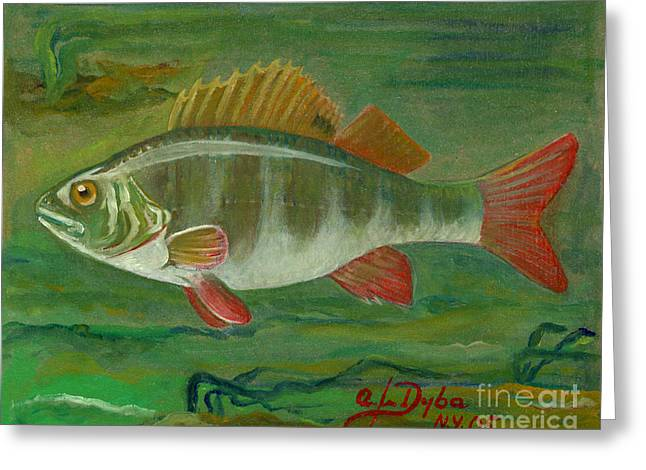 Polscy Malarze Greeting Cards - Perch Greeting Card by Anna Folkartanna Maciejewska-Dyba