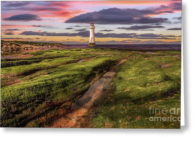 Perch Rock Lighthouse Sunset Greeting Card by Adrian Evans