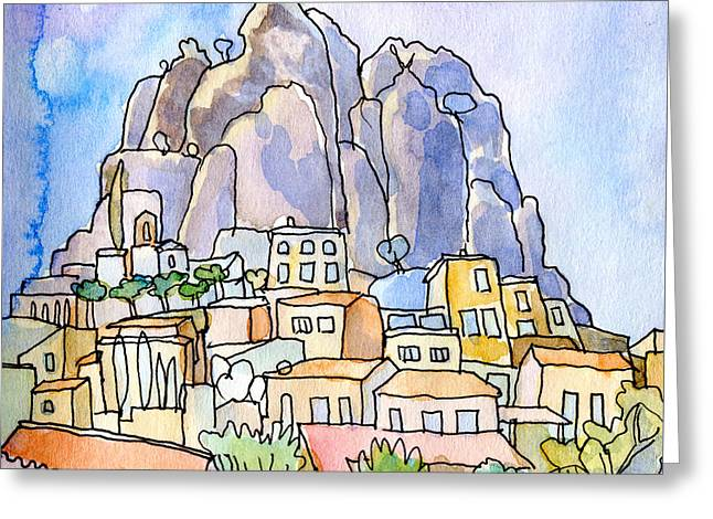 Provence Village Greeting Cards - Perched Village Provence  Greeting Card by Elizabetha Fox