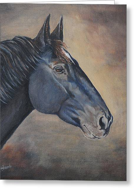 Crazy Horse Greeting Cards - Percheron Hanoverian Portrait Greeting Card by Renee Forth-Fukumoto