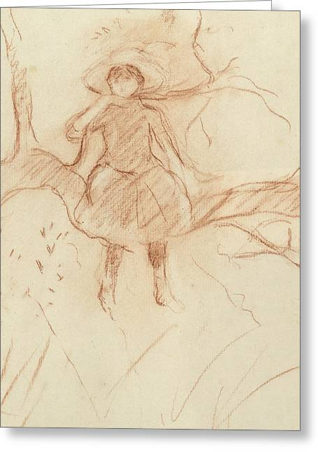 Sitting Pastels Greeting Cards - Perching in the Tree Greeting Card by Berthe Morisot