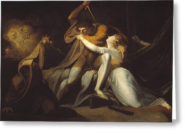 Swiss Paintings Greeting Cards - Percival Delivering Belisane from the Enchantment of Urma Greeting Card by Henry Fuseli