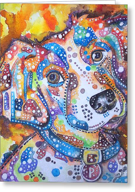 Collie Mixed Media Greeting Cards - Percy Greeting Card by Angela Green