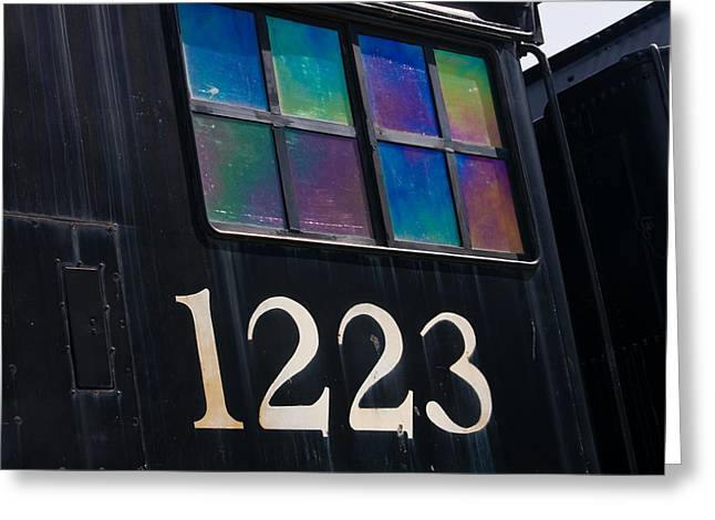 Retro Abstract Greeting Cards - Pere Marquette Locomotive 1223 Greeting Card by Adam Romanowicz
