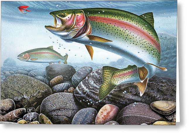 Best Sellers -  - Rainbow Trout Greeting Cards - Perfect Drift Rainbow Trout Greeting Card by JQ Licensing